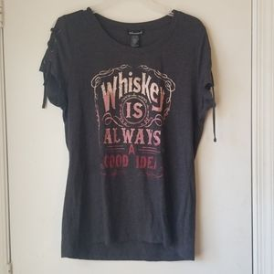 """Graphic Tee """"Drinking Whiskey Is Always A Good..."""""""